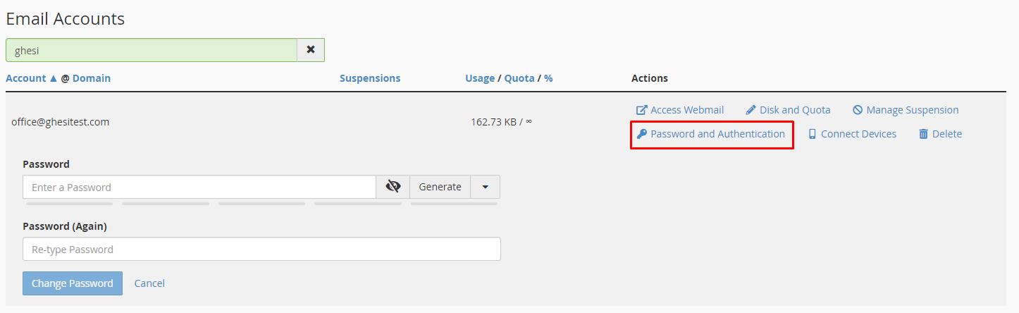 How to change an email account password in cPanel